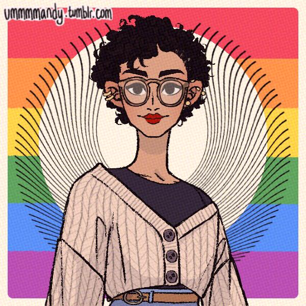 A cartoon avatar of the author with a rainbow background.